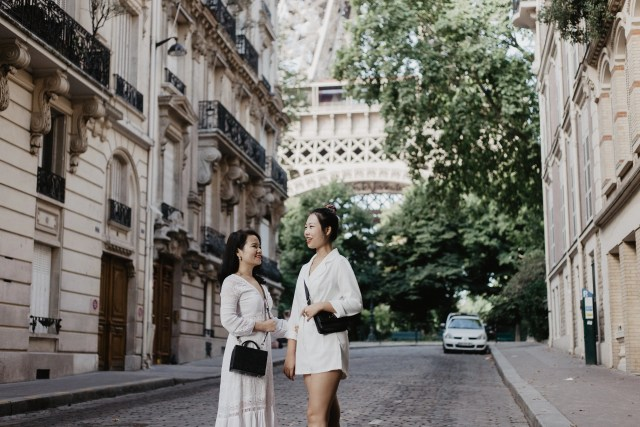 Girls best friends Eiffel tower paris photo