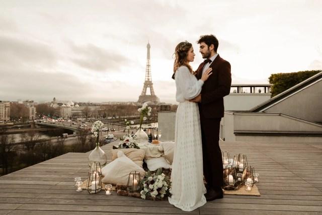 Paris rooftop elopement