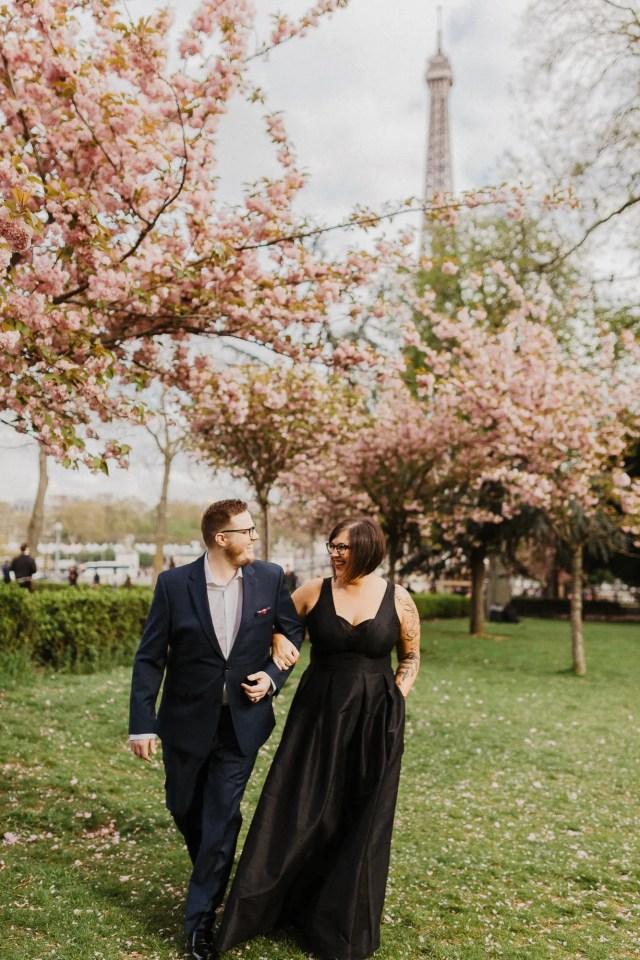 Paris wedding photographer spring cherry blossom