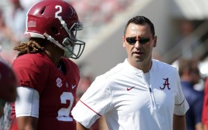 Sep 24, 2016; Tuscaloosa, AL, USA; Alabama Crimson Tide offensive analyst Steve Sarkisian prior to the game against Kent State Golden Flashes at Bryant-Denny Stadium. Mandatory Credit: Marvin Gentry-USA TODAY Sports