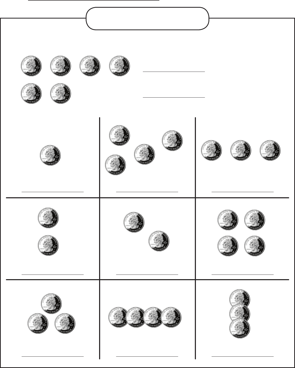Money Worksheet Quarters