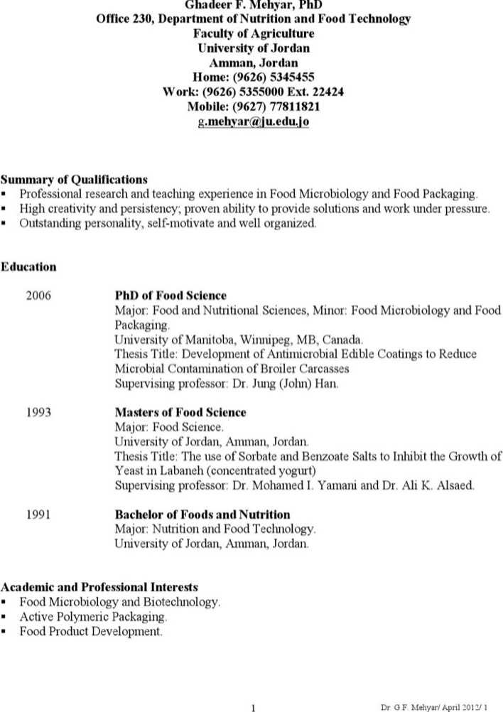 Download Food Microbiologist Resume For Free Page 2