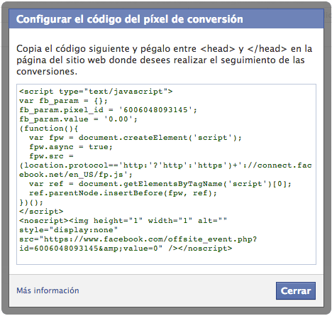 Código de Conversión de Facebook