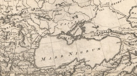 Black Sea, showing Khazar presence in Crimea and coastal regions: Rigobert Bonne, Imperii Romani Distracta. Pars Orientalis, (Paris, 1780). Note Ukraine and Kiev at upper left. At right: Caspian Sea, also labeled, as was the custom, as the Khazar Sea