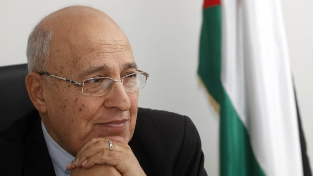 Nabil Shaath, the commissioner for external relations of the Fatah movement, seen in his office in the West Bank city of Ramallah, January 18, 2012 (photo credit: Miriam Alster/Flash90)