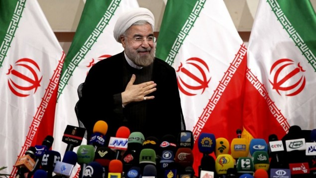 Iran's president-elect Hasan Rouhani at a press conference, in Tehran on June 17, 2013. (photo credit: Ebrahim Noroozi/AP)