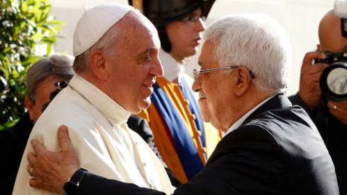 Image result for pope francis welcomes Mahmoud abbas to the vatican for the third time