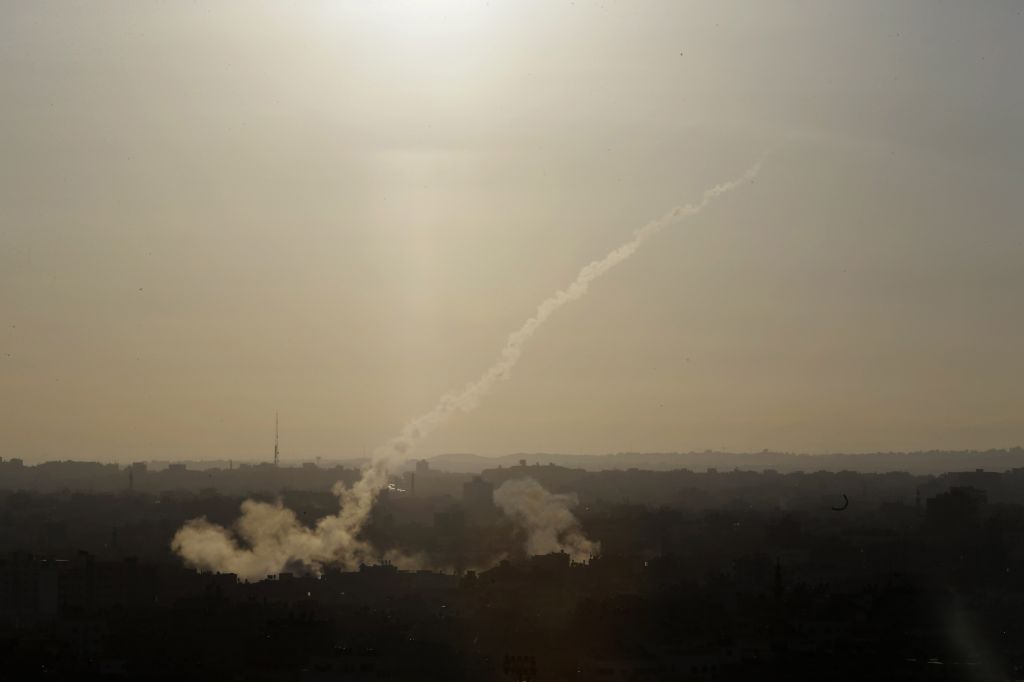 A rocket is fired from Gaza City towards Israel, Saturday, August 9, 2014. (photo credit: AP/Dusan Vranic)