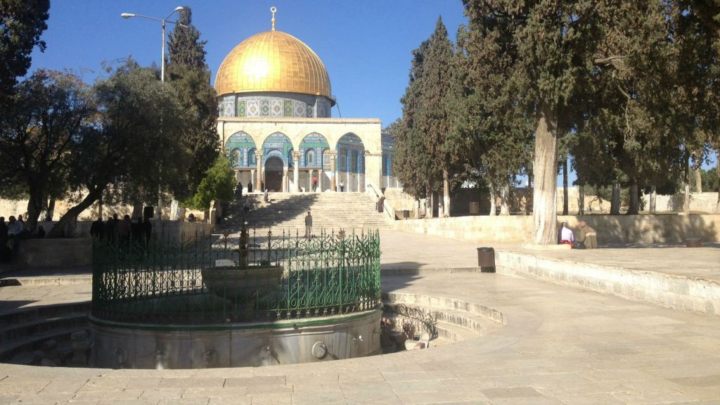 The Dome of the Rock, opposite the al-Aqsa Mosque, during a recent visit (photo credit: Mitch Ginsburg/ Times of Israel)