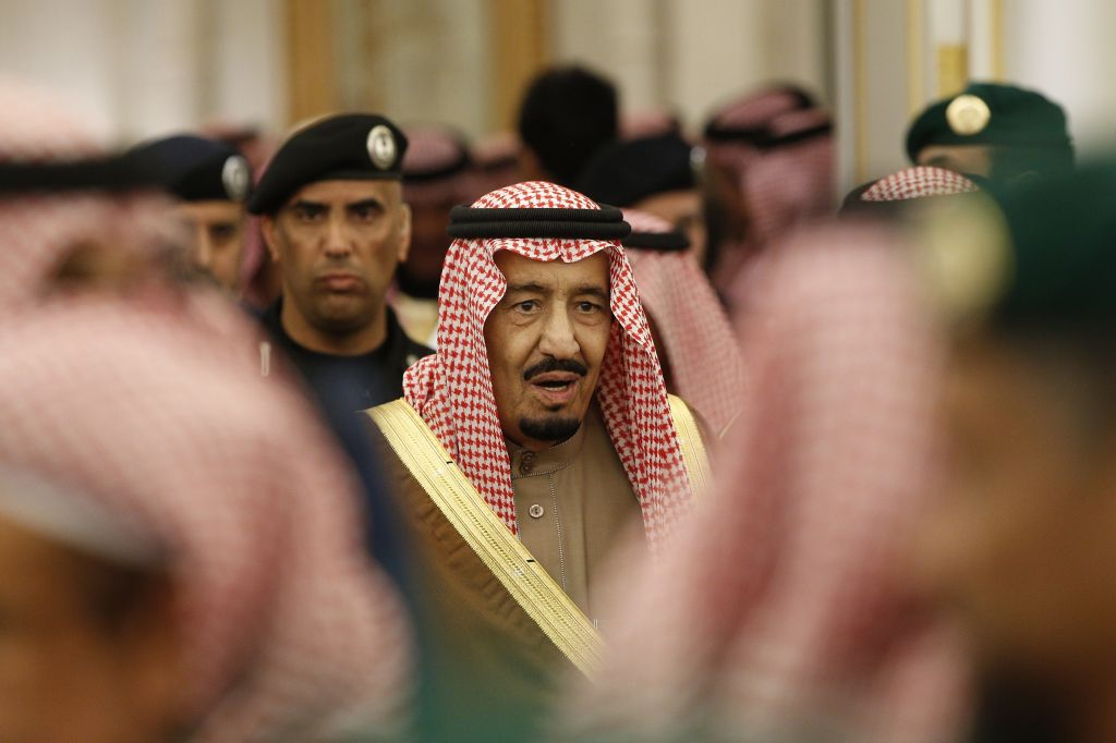 Saudi Arabia's King Salman attends a ceremony at the Diwan royal palace in Riyadh, January 24, 2015. (AP/Yoan Valat, File)