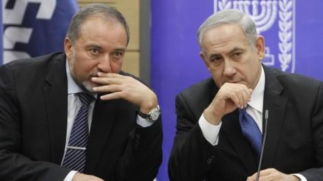 Avigdor Liberman and Benjamin Netanyahu (Photo by Yonatan Sindel/Flash90)