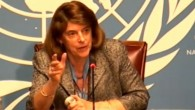 Mary McGowan Davis, présidente de la Commission d'enquête indépendante sur le conflit de Gaza en 2014, présente le rapport le 22 juin 2015 à Genève (Crédit : Capture d'écran de l'ONU)