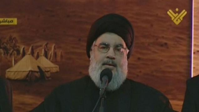 Une capture d'écran d'al-Manar TV de Hassan Nasrallah, faisant un discours lors d'une rare apparition publique, à Beyrouth au Liban, le 3 novembre 2014 (Crédit : AFP / al-Manar)