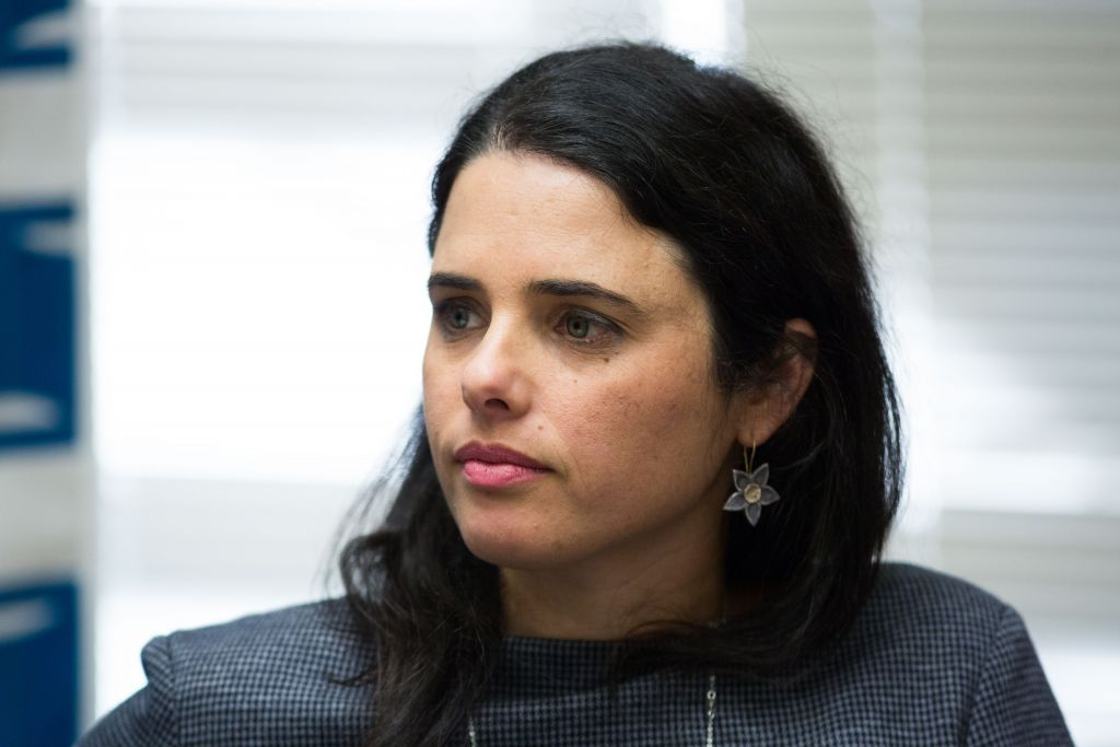 Justice Minister Ayelet Shaked attends the weekly Jewish Home faction meeting at the Knesset in Jerusalem on December 21, 2015 (Yonatan Sindel/Flash90)