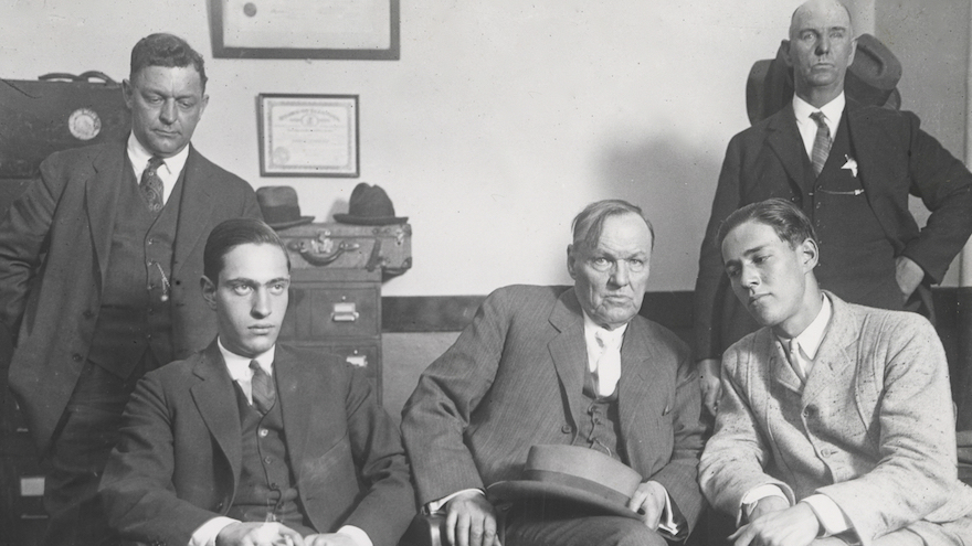 Defense attorney Clarence Darrow, center, meets with his clients Nathan Leopold (seated left) and Richard Loeb (seated right) in 1924. (Courtesy of Charles Deering McCormick Library of Special Collections, Northwestern University/via JTA)
