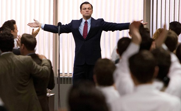 "Leonardo DiCaprio interprète Jordan Belfort dans ""Le loup de Wall Street"", sorti en 2013. (Crédit : Paramount Pictures and Red Granite Pictures, Mary Cybulski)"