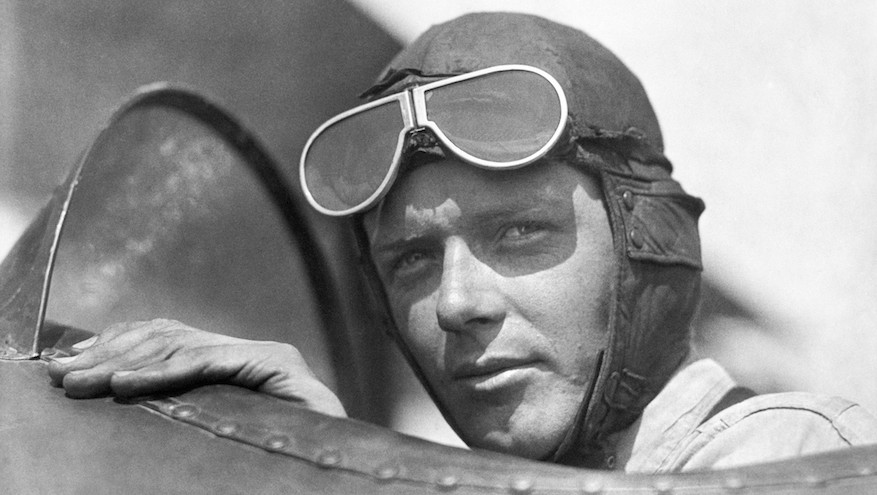 Charles Lindbergh, wearing helmet with goggles up, in an open cockpit of an airplane at Lambert Field, St Louis, Missouri, 1923. (Photo by Underwood Archives/Getty Images)