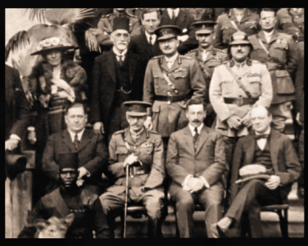 Photo taken at the Cairo Conference- 1921. Seated: from right: Winston Churchill, Herbert Samuel. Standing first row: from left: Gertrude Bell, Sir Sassoon Eskell, Field Marshal Edmund Allenby, Jafar Pasha al-Askari. (Courtesy: wikipedia)