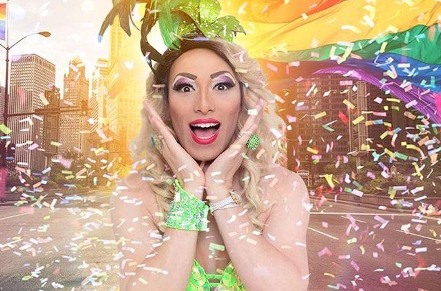 Lior Yisraelov as Suzi Boum promoting gay pride. (JTA/Maya Bar)