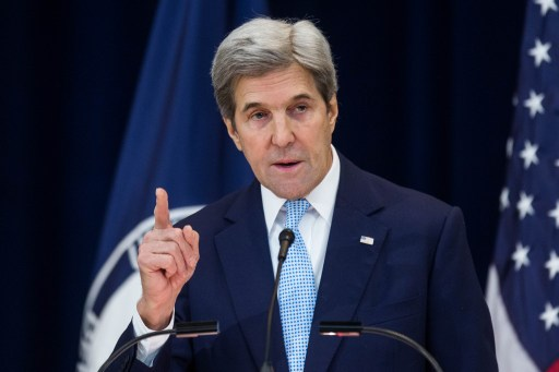US Secretary of State John Kerry delivers a speech on Middle East peace at The US Department of State on December 28, 2016, in Washington, DC. (Zach Gibson/Getty Images/AFP)