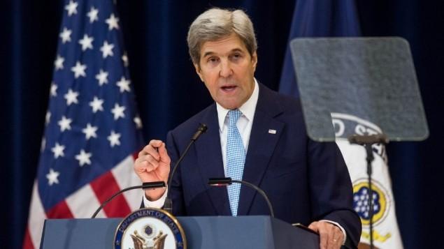 Le Secrétaire d'Etat John Kerry donne un discours consacré à la paix au Moyen Orient au Département d'Etat, à Washington, le 28 décembre 2016. (Crédit : Zach Gibson/Getty Images/AFP)