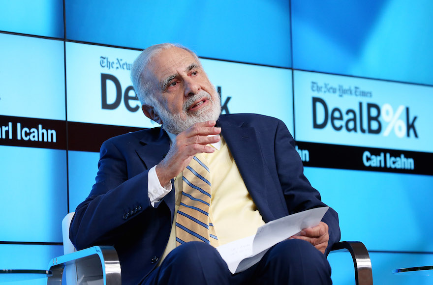 Carl Icahn participates in a panel discussion at a New York Times conference in New York City on November 3, 2015.