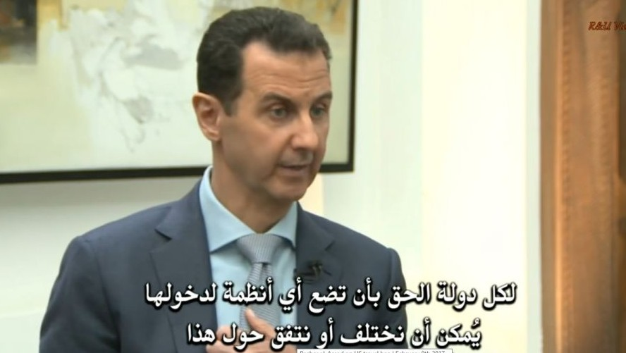 Screen capture of Syrian President Bashar Assad during an interview with media, February 2017. (Screen capture: R&U Videos/YouTube)