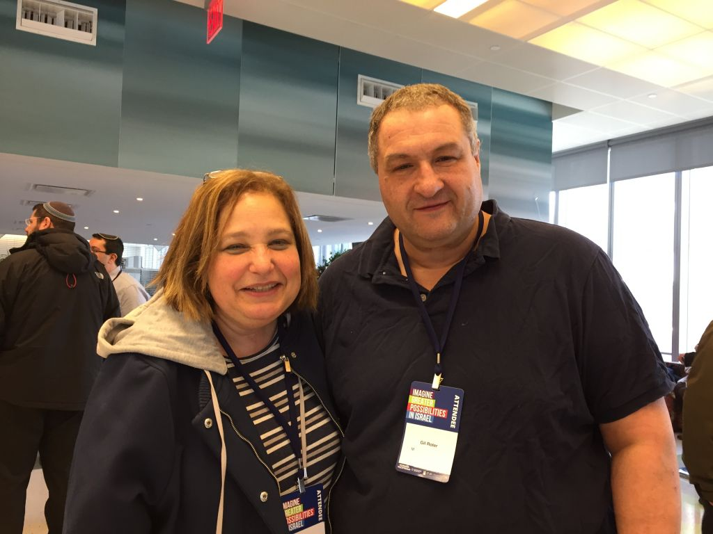 Cindy and Gil Roter are supporters of President Donald Trump, whom they saw as the only pro-Israel candidate. (Amanda Borschel-Dan/Times of Israel)