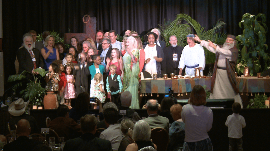 A scene from 'The Road to Redemption' Passover seder event, held annually on Easter weekend near Charlotte, North Carolina. This year, the event expects 620 people to attend. (Courtesy)