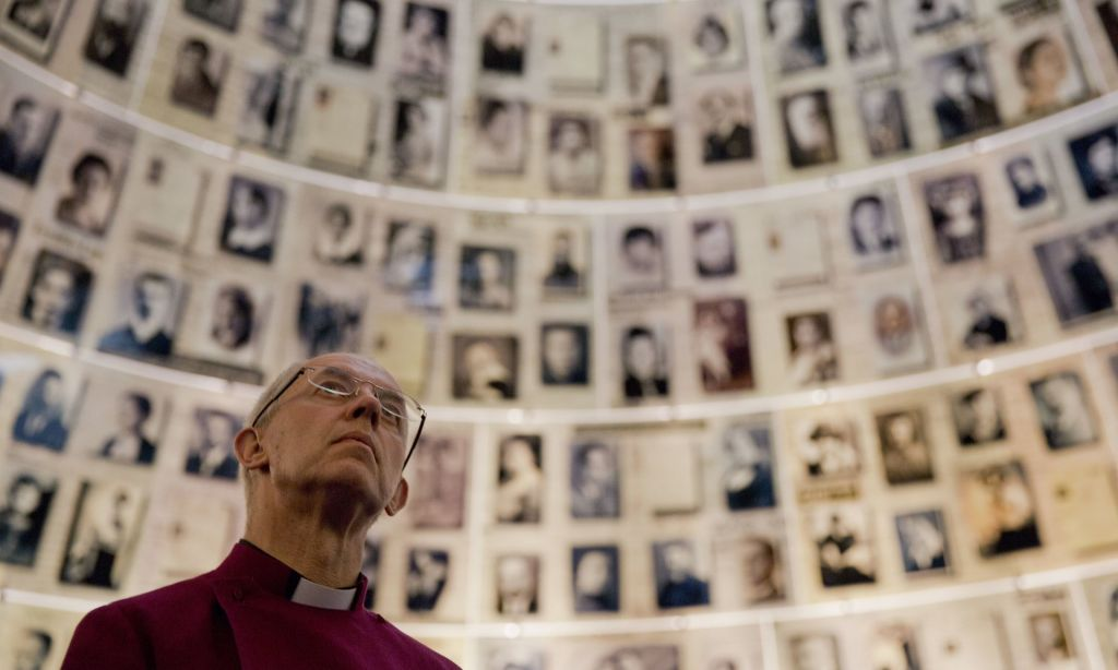 Archbishop of Canterbury Justin Welby at Yad Vashem on May 3, 2017 (AP/Ariel Schalit)