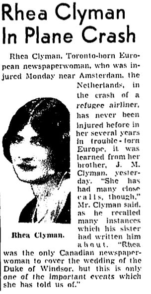 A report of Rhea Clyman's plane crash in Amsterdam, 1938. (Public domain)