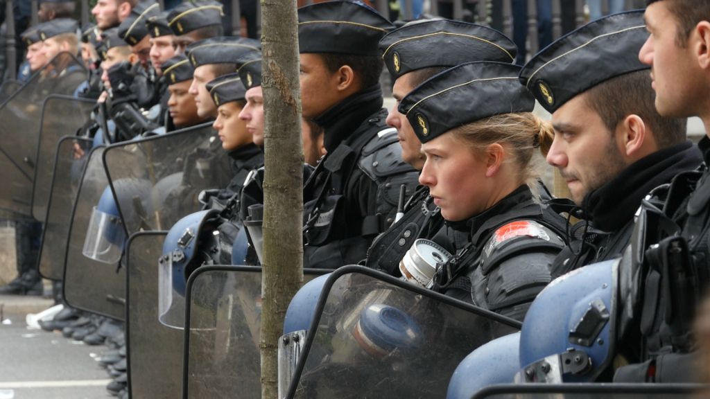 Police line up during demonstrations by the French Nuit Debout social protest movement in this screenshot from the documentary 'Chosen and Excluded -- Jew Hatred in Europe.' (Courtesy)