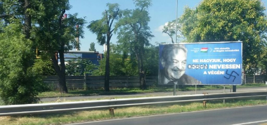 An anti-Soros billboard with a swastika and Soros's name replaced by Viktor Orban's seen in Budapest on July 17, 2017. (Raphael Ahren/Times of Israel)