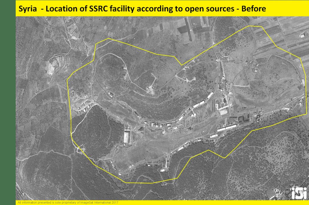 Images satellites israéliennes montrant les conséquences d'une frappe aérienne attribuée à Israël contre une base de développement de missiles, en Syrie, le 7 septembre 2017. (Crédit : ImageSat International)