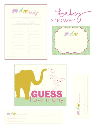 "Two free printable baby shower games, ""Name that Baby"" and ""Guess How Many"""