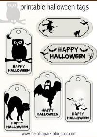 black and white halloween tags