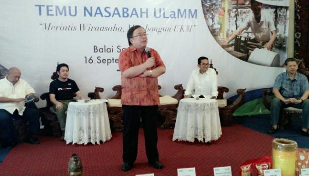 Menteri Bappenas, Bambang Brodjonegoro memberikan sambutan dalam acara Temu Nasabah UlaMM,