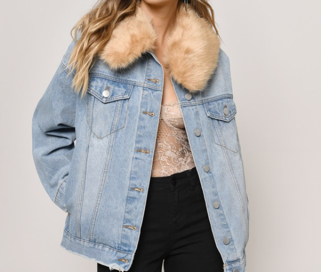 Coats Light Wash Grant Oversized Jacket With Detachable Fur Collar