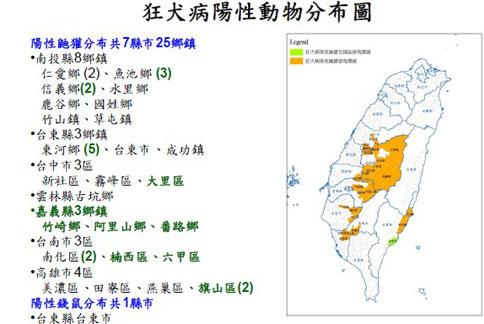 染病地區已經擴增為7縣市25個鄉鎮,新增1縣(嘉義縣)、7鄉鎮。(疾管署提供)