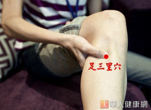足三里穴約在膝蓋下方凹陷處,在往下3吋左右的位置上,約4指併攏的寬度。經常按壓此穴位有通經活絡、疏風化濕、促進血液循環的效果。