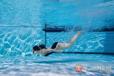 游泳池的水中加入氯化學物質,游泳完記得以清水沖洗乾淨身體,以免皮膚乾澀、水分流失。