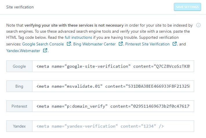 Meta Tag Verification