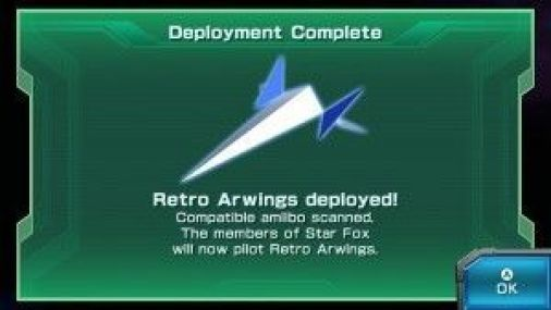 Unlocking the Retro Arwing in game after scanning the Fox amiibo Image Credit: Nintendo