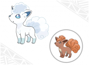 This image shows both the original Fire Type version of the Pokemon Vulpix (Right), and the new Ice Type Alolan Form (Left). Image Credit: Nintendo
