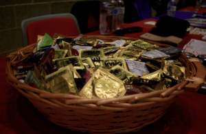 Different organizations handed out free condoms and encouraged students to learn about safe sex during the World AIDS Day event at Stony Brook University. (Photo by Jack Yu Dec. 01, 2016)