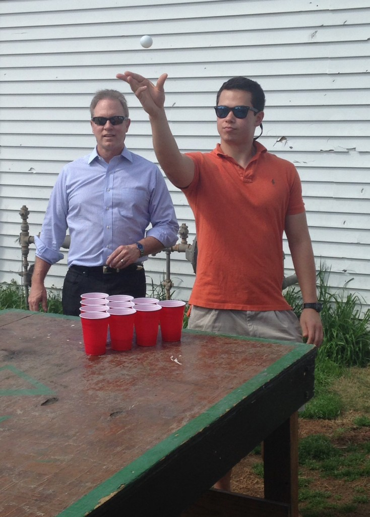 Father-son bonding during parents weekend. TFM.