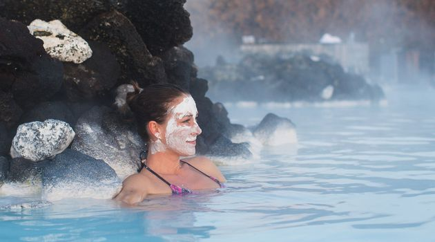 Woman chilling out in the Blue Lagoon.