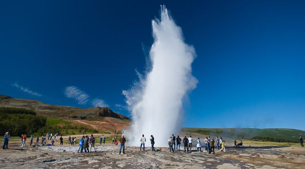 The Strokkur geyser on the Golden Circle in Iceland.