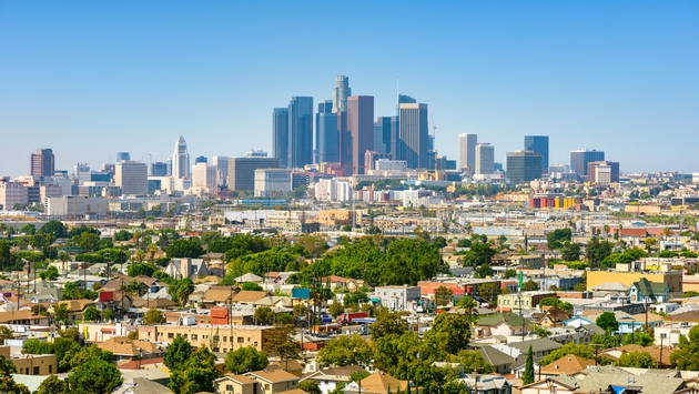 Los Angeles, California, USA downtown cityscape at sunny day (Photo via choness / iStock / Getty Images Plus)