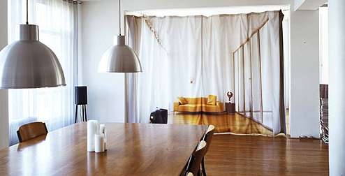 Space Saving Curtains Bauke Knotterus Gives Your Loft More Privacy Using Printed Curtains